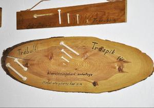 Träspiken och träbulten är Erland Lundgrens egna uppfinningar.