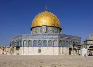 Klippdomen i Jerusalem uppfördes i slutet av 600-talet är klädd i keramik.