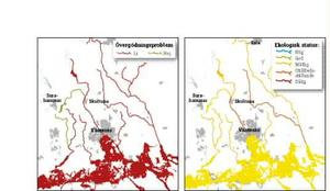 """Rött. Kartan visar att övergödningen är utbredd i Mälaren och åar.Guld. Kartan visar vattnets ekologiska status. Den är måttlig och på vissa håll otillfredsställande. Ingenstans är statusen """"hög"""" eller """"god"""".kartor: daniel guerra"""
