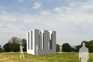 Sol LeWitts minimalistiska skulptur på Kivik Art Center i Skåne blir konstnärens första utomhusverk i Skandinavien. Pressbild.