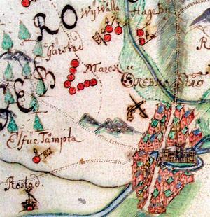 """Backar. På denna karta från år 1688 kan man faktiskt se backarna vid Mark (sydost om byn """"Marck""""), därav ortnamnet Markbacken. Man kan även se landsvägen mot Eker (""""Ekersvägen"""") strax söder om dessa backar vid Marks by. Ur Gabriel Torings Örebro häradskarta år 1688."""