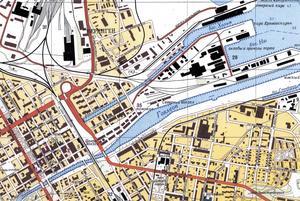 Centrala Gävle på Sovjetunionens karta. Stadshuset är märkt med siffran 24, 20 står för Posten och järnvägsstationen är 5.