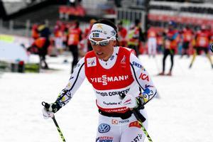 Kalla under skiathlonträning på fredagen.