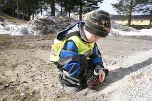 Samuel hittade en stor bit tegel i en grushög.