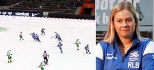Rut-Lina Berners Villa Lidköping satte nytt publikrekord på damsidan i matchen mot Skutskär på lördagen. Bild: Skärmdump från Bandyplay.se / Jonna Igeland