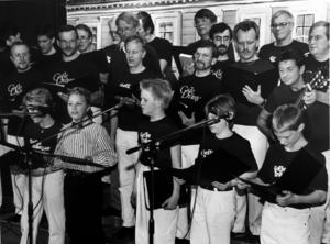 Gefle Drängar och juniordrängarna i Gosskören, på Silvanum 1989.