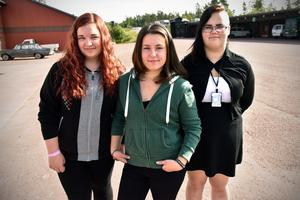 Jenny Rickardsson, Linda Jönsson och Madelen Hagberg är tre av de elva förstaårseleverna på Fordons- och transportprogrammet.