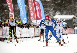 Stina Nilsson vann damernas sprintfinal före Charlotte Kalla och Hanna Falk.