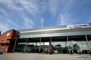 Bilden visar Brynäs IF-emblemet på Gavlerinken arena.