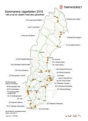 Kartan de platser i landet där trafikstörningarna under semestern blir som värst.