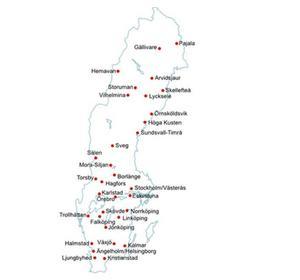 Kartan visar Sveriges icke-statliga flygplatser som är med i Svenska Regionala Flygplatser AB (SRF) som ägs av samarbetsorganet Svenska Regionala Flygplatsförbundet (SRFF).