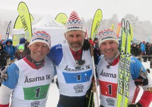 Tre gamla skidhjältar; Jan Ottosson, Thomas Wassberg och Torgny Mogren.