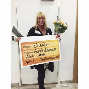 Anneli Johansson har vunnit SM i Ungt företagande som årets lärare.