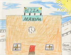 1996 hade Utbildningsradion ett riksomfattande projekt kallat Hembygdsbilden. Mellanstadiebarn bjöds in att måla och rita bilden av sin hembygd. Här är en teckning av Per Perjans, 11 år, Alfta 4b. 1996. Maxim ligger mitt i Alfta. Dom på Maxim bakar pizza.