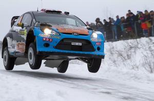 Mads Östberg, Norge, Ford Fiesta under WRC Rally Sweden, andra deltävlingen i rally-VM 2012 på fredagen.