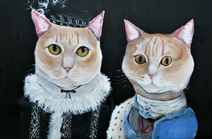Fridas djurporträtt är utformade som furstar i barock stil. Det här är hennes syster Viktoria Söderbergs två katter Eskil och Sverker.