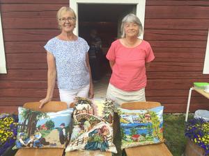 Gun From och Eva Zetterström Blixth är namnen bakom Memory Lane. Två broderimönster är tagna från klassiska oljemålningar: Grindslanten, till vänster och Vedplockerskan, i mitten. Foto: Solbritt Eidenby