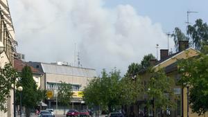 Så här såg det ut i centrala Fagersta klockan 15.30 på måndagen.