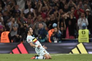 Eden Hazard gjorde både mål och assist mot Ungern.