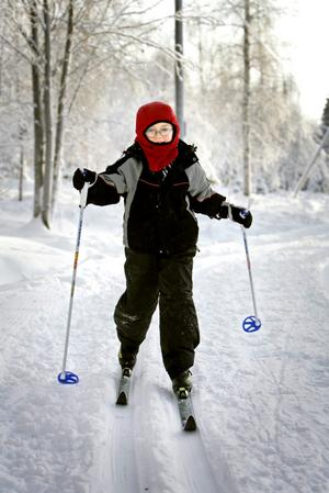 Olof Bergvall, 7 år, från Örebro tog en skidtur.