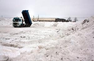 ...och tippar av snön bland de växande snöhögarna.