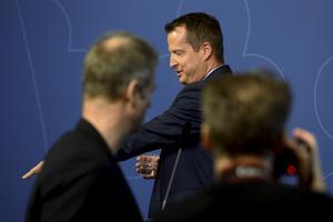 – Det är fortfarande för dåligt resultat, säger Inrikesminister Anders Ygeman  om polisens bottensiffror, under  pressträff i Rosenbad.