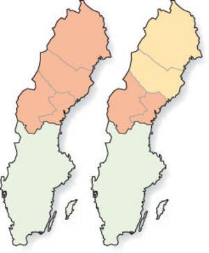 Debattören Sten Rentzhog anser att regionfrågan, där resultaten kan bli ett Stornorrland eller en Sundsvallsregion, knappast kommer att avgöras på ett demokratiskt sätt.Illustration: Kjell Nilsson-Mäki