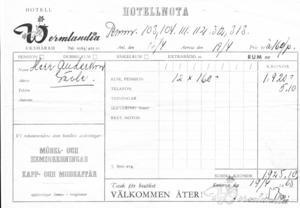 Kvittot för rum och pension. 1925 kronor för tolv personer.