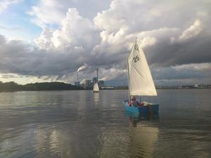 Lövudden Jolleklubb erbjuder träning varje Torsdag och bilden är tagen vid senaste passet. Senare under seglingen så kom vinden och tjejerna i optimisterna fick känna på att det går även få fart i en optimstjolle.