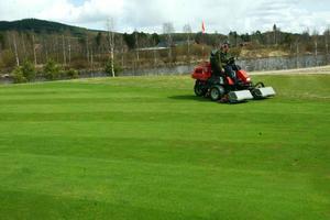 Snön har nyligen försvunnit men redan lyser gräset grönt på golfbanan i HedePå lördag öppnar den. Foto: Håkan Persson