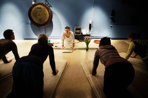 Vanliga fysiska yogaövningar är en del av röstyogan, men här används också rösten för att rikta ljudet till olika delar av kroppen.