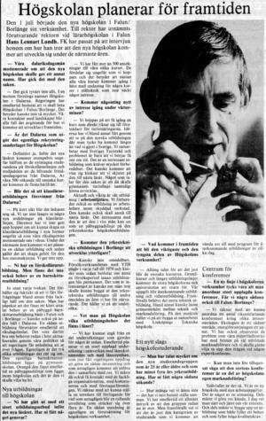 Juli 1977. Högskolans första rektor Hans Lennart Lund är hoppfull om framtiden.