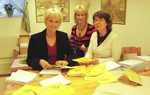 Anhörigcenter. Solveig Kärrbon, Marie Hultén och Lena Broman gör i ordning de brev som ska berätta om anhörigcenters verksamhet.