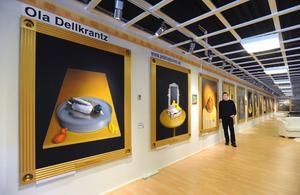 26 meter vägg tar Ola Dellkrantz utställning om badankan som ville leva livet i anspråk. Med början i morgon kan ni se den på Björkmans möbler i Bollnäs.