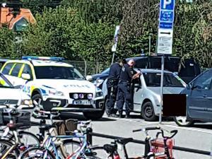 Polisen sökte efter bilägaren bland annat genom utrop i Lögarängsbadets högtalaranläggning, utan resultat. Till slut var man tvungen att krossa en ruta för att få ut hunden.