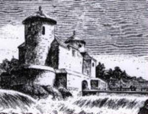 Sista fängelset: Kajaneborgs fästning i Finlad där Lars Wivallius satt. (Träsnitt av W Lagus ur Kajana illustrata, 1882)