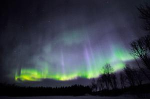 Bilden är tagen på Frösön och visar ett färgsprakande norrsken som dansade över himlen i fler omgångar.Foto: Frilansfotograf/Astrofotograf Göran Strand