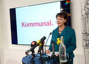Kommunals ordförande Annelie Nordström håller pressträff på onsdagen.