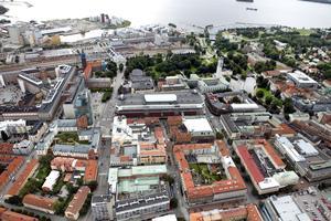 Flygbild. Västerås centrum.