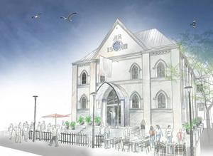 Så här kan det komma att bli utanför den gamla baptistkyrkan när det blir gastro pub. Krögarna räknar också med att behöva anställa cirka 20 personer.