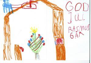 Rasmus 6 år från Gävle, önskar God Jul med sin teckning.