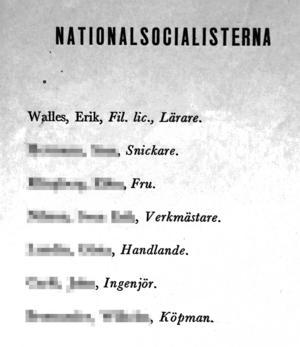 Nationalsocialisternas valsedel toppas av namnet Erik Walles. Att han sparat den här valsedeln visar tydligt att ränderna aldrig gått ur...
