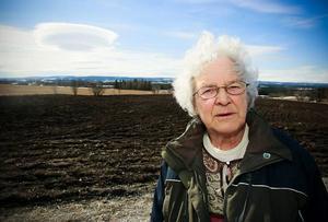"""Diana Fernlund från Myrviken var en av dem som anordnade manifestationen. Hon funderade över om """"atombombssvampen"""" på himlen skulle ses som ett tecken."""
