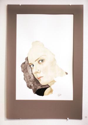 Birgitta Rådbergs akvarellporträtt, oglasade och målade så de liknar utrivna delar av större verk.