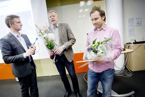 Stefan Canderyd och Per-Olof Lindgren, Skanska,  tog emot byggteknikpriset av Jörgen Edsvik.