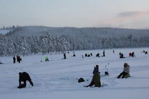 Det kom många fiskare till fiskepremiären på Lilla Svartsjön, mellan Ljusdal och Ängebo.