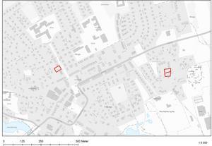 Karta över var byggföretaget SHC reserverat tomter i centrala Smedjebacken.