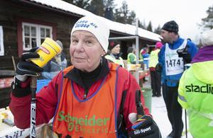 Berit Brandt från Vansbro var första kvinna att komma med i den oerhört mansdominerade veteranklubben där det krävs 30 lopp för att få vara med.
