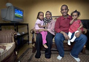 Degane, Hibo, Mohamed och lilla Amina trivs i Bollnäs.