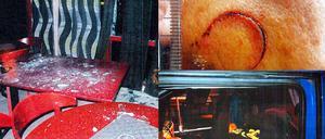 Vänster: Golfrestaurangen som 22-åringen åtalas för att ha gjort inbrott i. Uppe höger: Mannens sårskada. Nere höger: I den här lastbilshytten tvingade trion in mannen och fortsatte misshandeln.